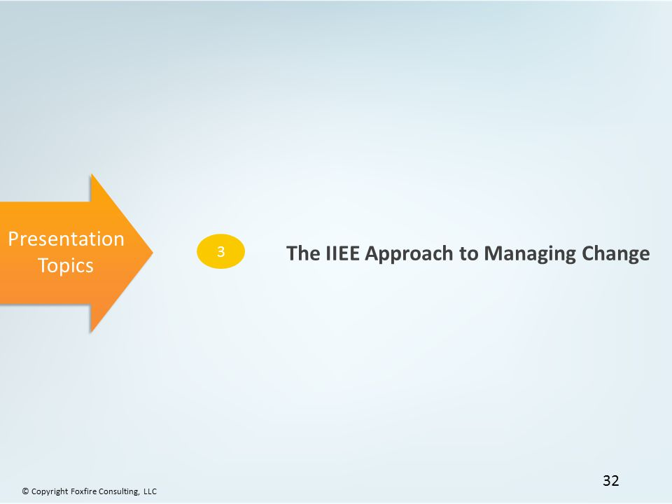 Presentation Topics 3 The IIEE Approach to Managing Change © Copyright Foxfire Consulting, LLC 32