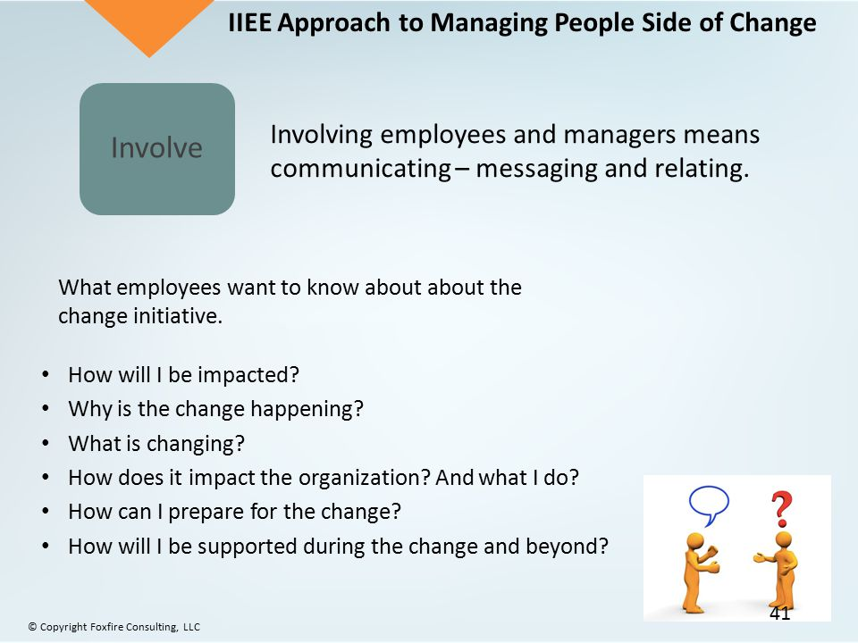 Involve What employees want to know about about the change initiative. How will I be impacted? Why is the change happening? What is changing? How does