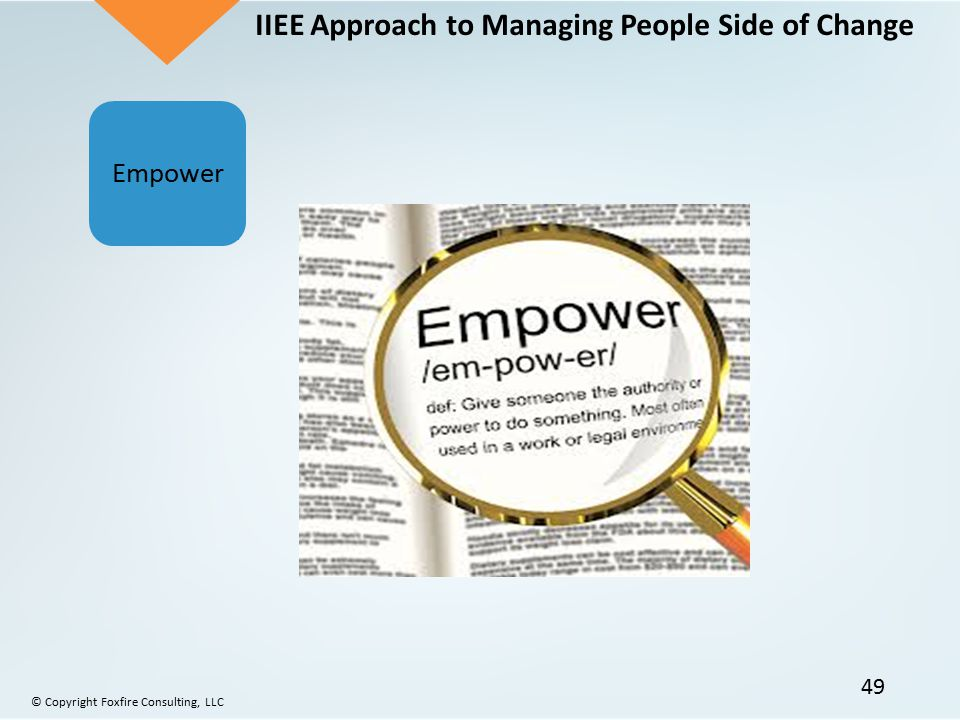IIEE Approach to Managing People Side of Change Empower © Copyright Foxfire Consulting, LLC 49