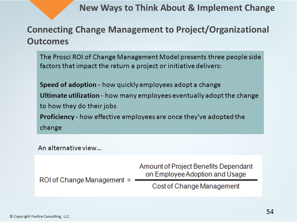 An alternative view… The Prosci ROI of Change Management Model presents three people side factors that impact the return a project or initiative deliv