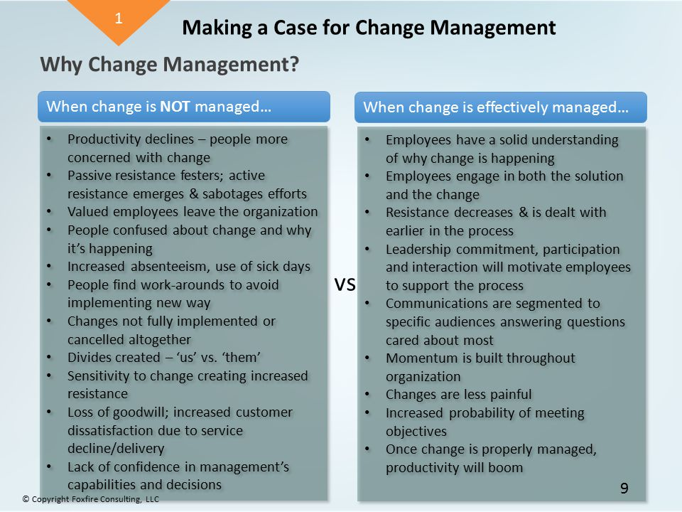 Why Change Management? Making a Case for Change Management Productivity declines – people more concerned with change Passive resistance festers; activ