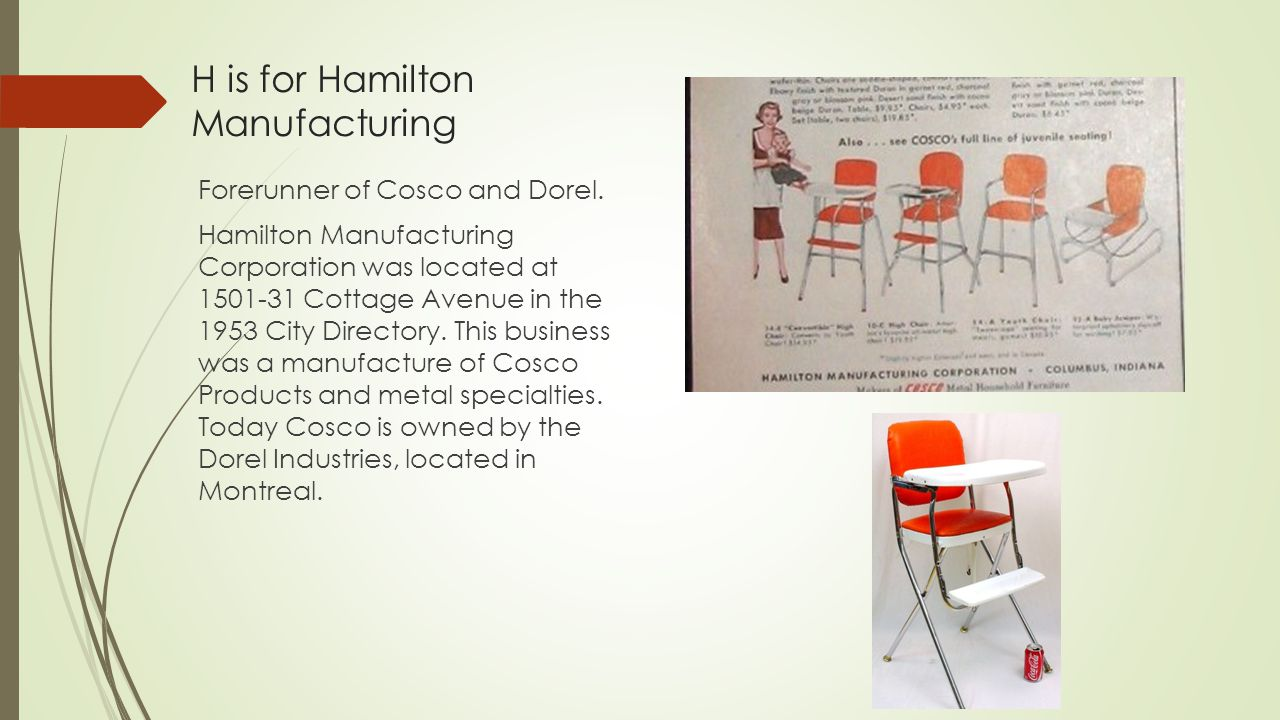 H is for Hamilton Manufacturing Forerunner of Cosco and Dorel.