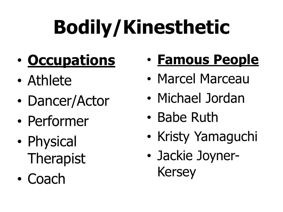 Bodily/Kinesthetic Activity/motion Hands-on Experimental Manipulate Participate Body language
