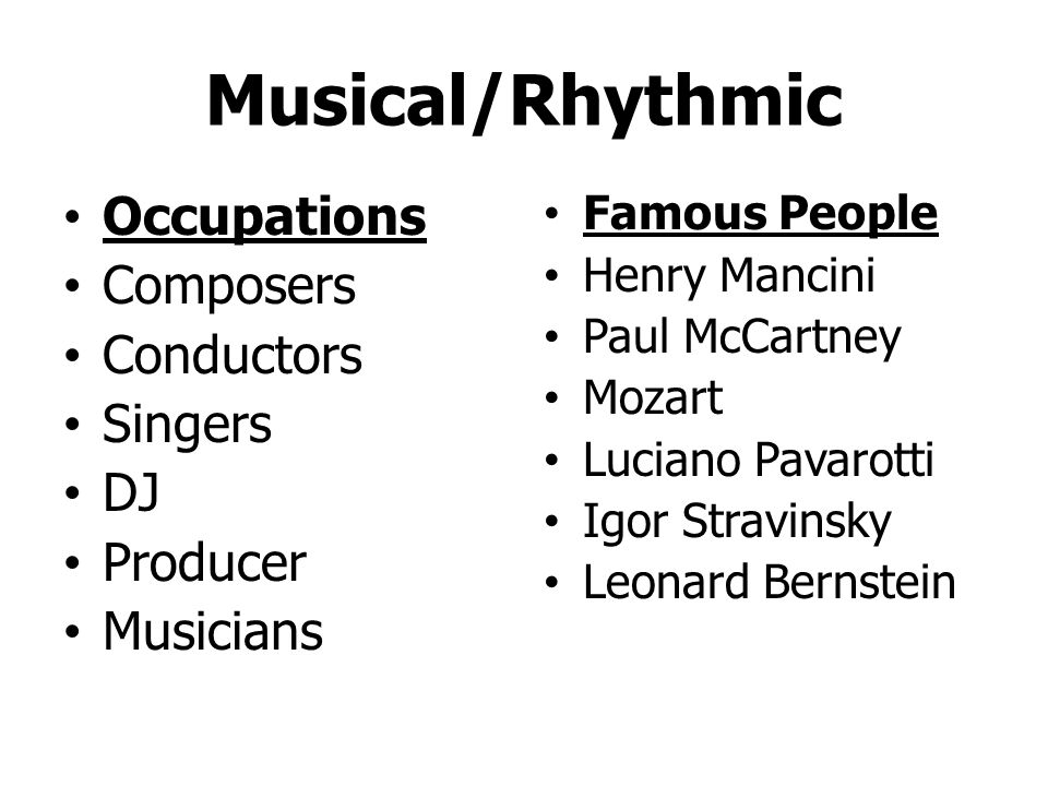 Musical/Rhythmic Singing Playing instruments Rhythms/beats Composing Sound Pitch