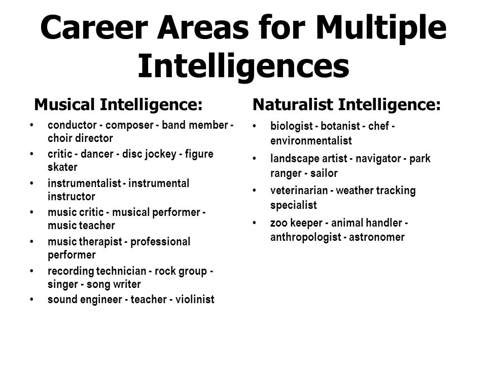 Career Areas for Multiple Intelligences Spatial Intelligence: photographer - graphic designer advertiser - architect - artist - builder - carpenter co