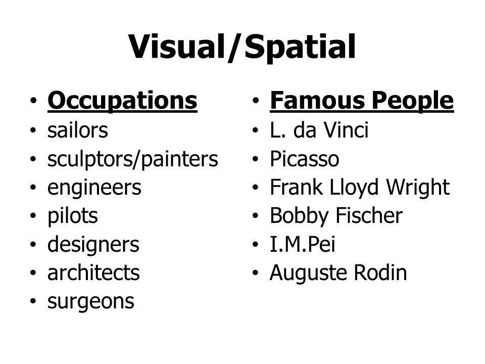 Visual/Spatial Occupations sailors sculptors/painters engineers pilots designers architects surgeons Famous People L.
