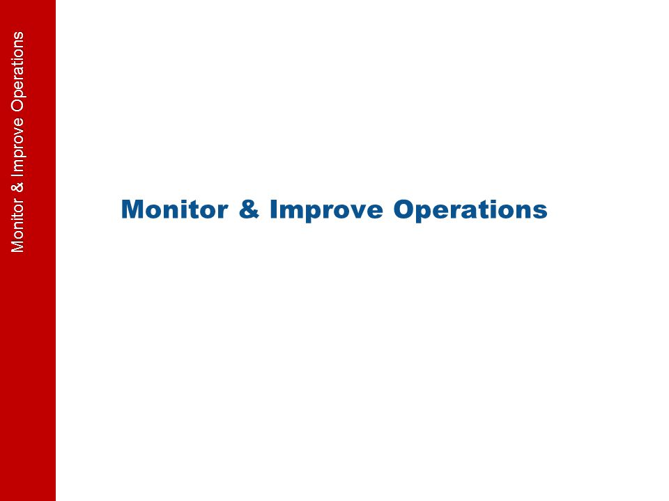 Monitor & Improve Operations