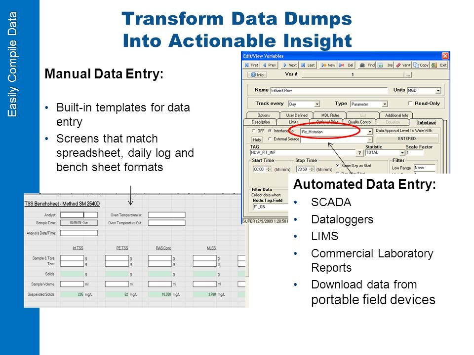 Easily Compile Data Transform Data Dumps Into Actionable Insight Manual Data Entry: Built-in templates for data entry Screens that match spreadsheet, daily log and bench sheet formats Automated Data Entry: SCADA Dataloggers LIMS Commercial Laboratory Reports Download data from portable field devices