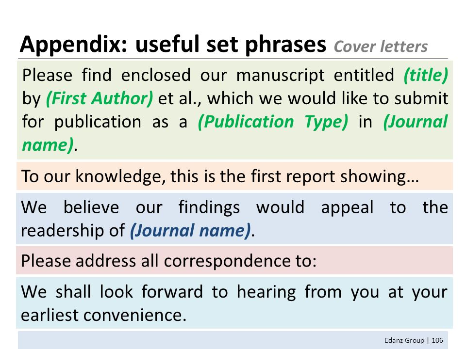 Appendix: useful set phrases Cover letters Edanz Group | 106 Please find enclosed our manuscript entitled (title) by (First Author) et al., which we would like to submit for publication as a (Publication Type) in (Journal name).