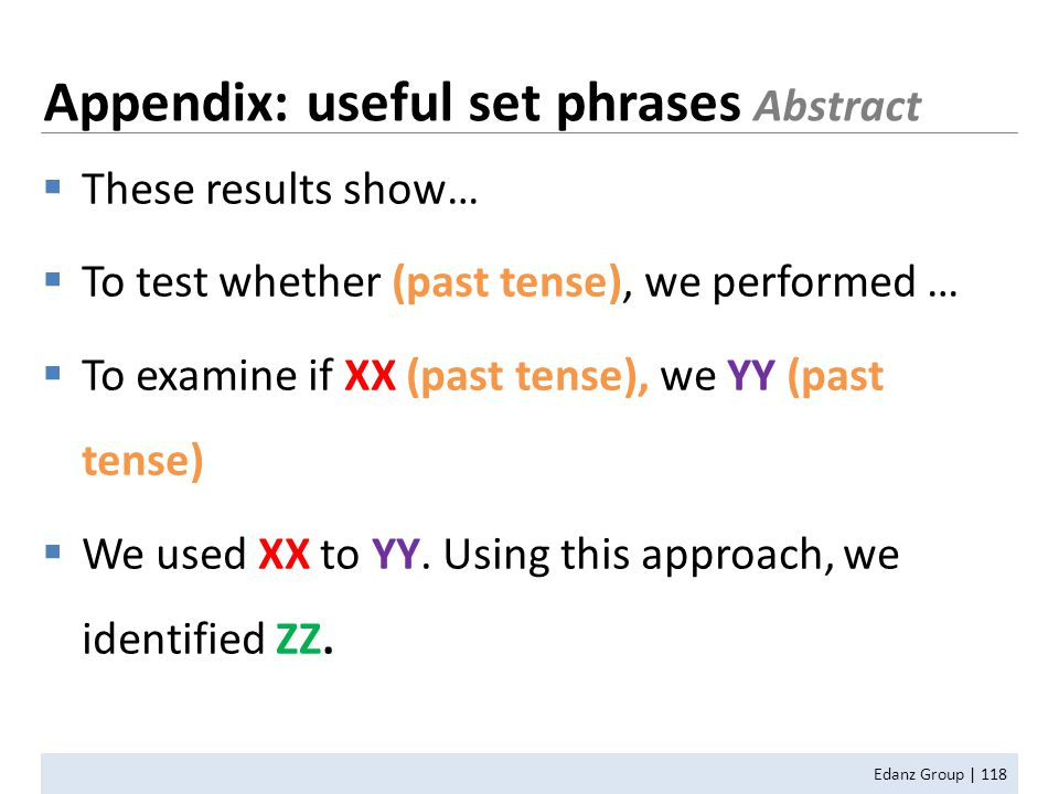 Edanz Group | 118  These results show…  To test whether (past tense), we performed …  To examine if XX (past tense), we YY (past tense)  We used X