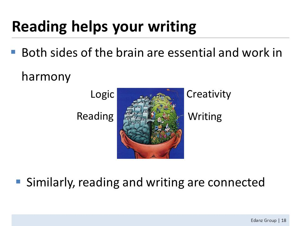 Reading helps your writing Reading  Both sides of the brain are essential and work in harmony Reading Writing Logic Creativity  Similarly, reading a