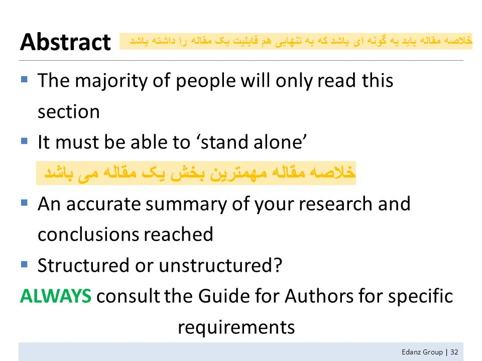  The majority of people will only read this section  It must be able to 'stand alone'  An accurate summary of your research and conclusions reached