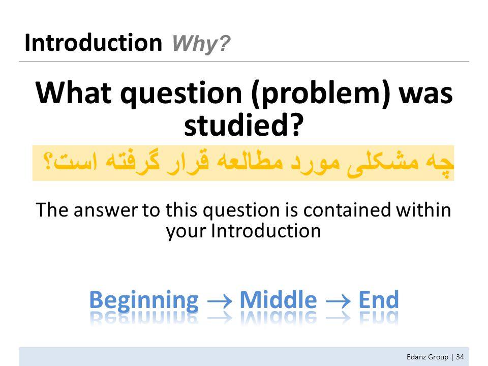 Edanz Group | 34 Introduction Why چه مشکلی مورد مطالعه قرار گرفته است؟