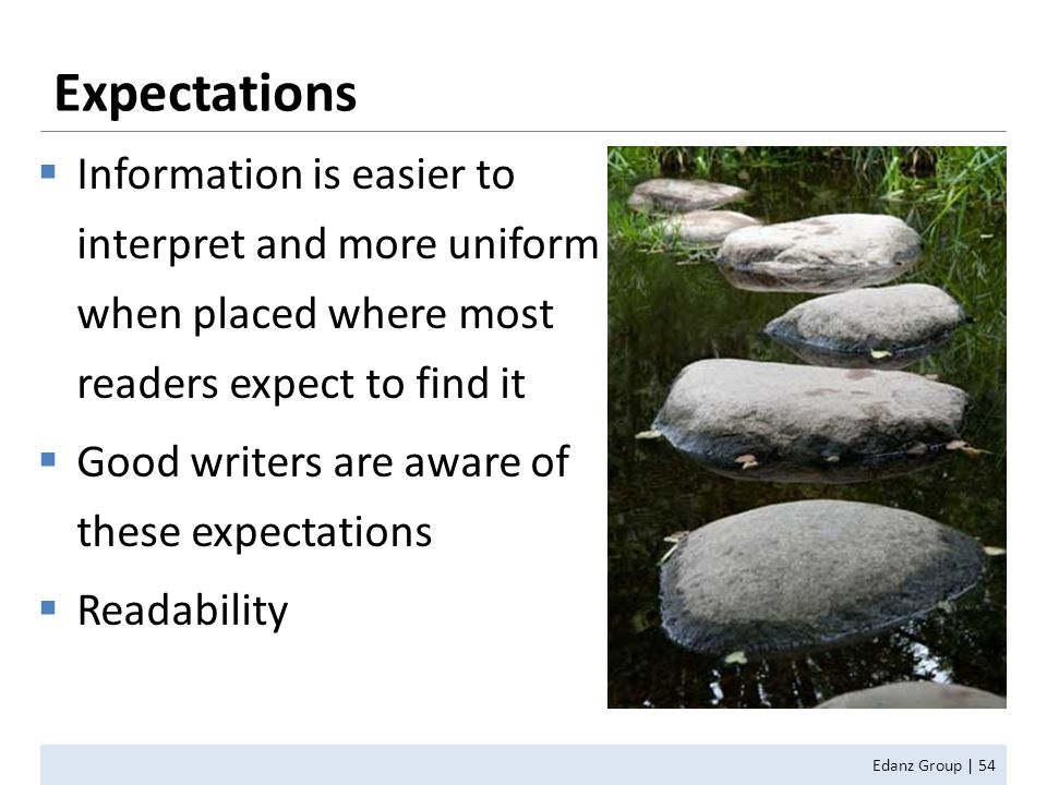  Information is easier to interpret and more uniform when placed where most readers expect to find it  Good writers are aware of these expectations  Readability Expectations Edanz Group | 54