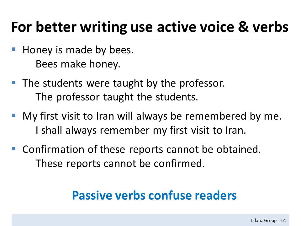 For better writing use active voice & verbs Edanz Group | 61  Honey is made by bees.