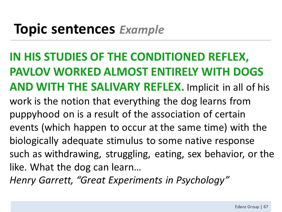 Topic sentences Example Edanz Group | 67 IN HIS STUDIES OF THE CONDITIONED REFLEX, PAVLOV WORKED ALMOST ENTIRELY WITH DOGS AND WITH THE SALIVARY REFLEX.