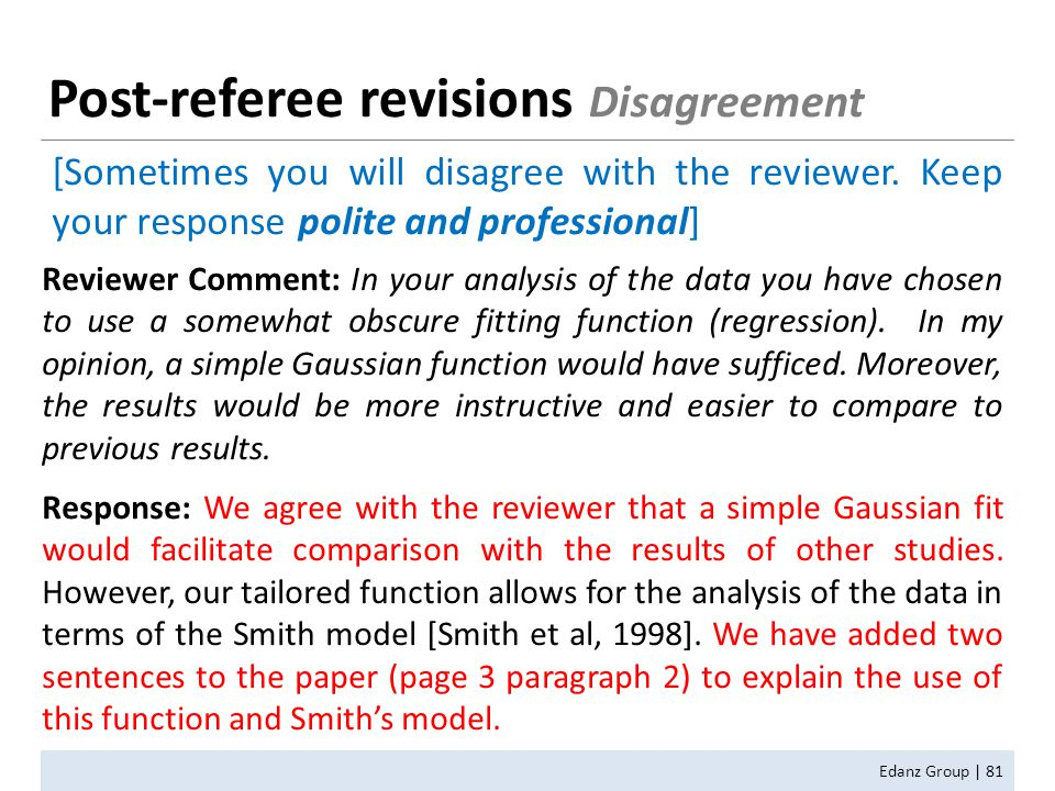 Edanz Group | 81 Post-referee revisions Disagreement [Sometimes you will disagree with the reviewer. Keep your response polite and professional] Revie