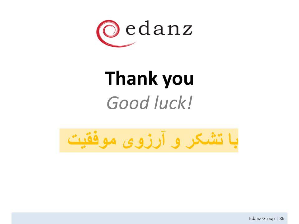 Thank you Good luck! Edanz Group | 86 با تشکر و آرزوی موفقیت