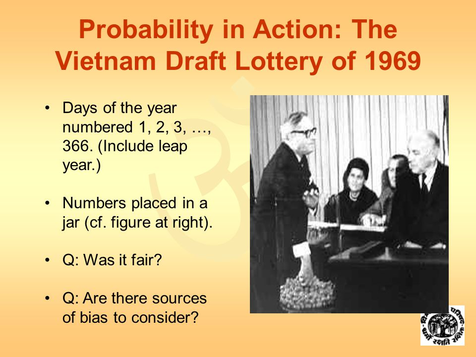  Probability in Action: The Vietnam Draft Lottery of 1969 Days of the year numbered 1, 2, 3, …, 366.