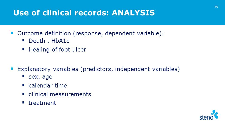 Use of clinical records: ANALYSIS  Outcome definition (response, dependent variable):  Death.