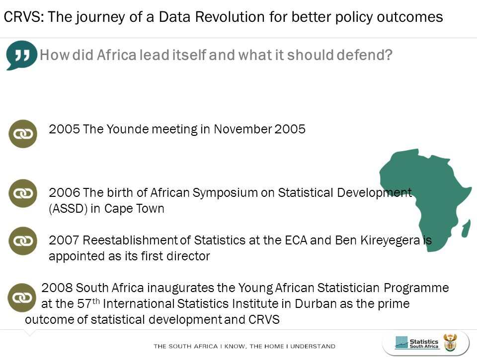 CRVS: The journey of a Data Revolution for better policy outcomes How did Africa lead itself and what it should defend.
