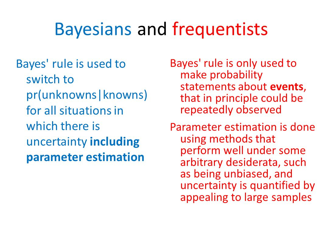 Bayesians and frequentists Bayes' rule is used to switch to pr(unknowns|knowns) for all situations in which there is uncertainty including parameter e