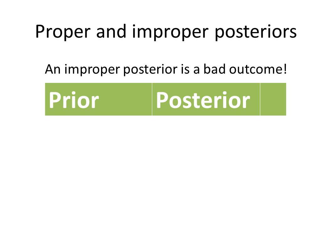 Proper and improper posteriors An improper posterior is a bad outcome! PriorPosterior Proper ImproperProper Improper 