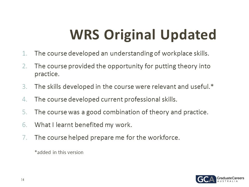 14 WRS Original Updated 1.The course developed an understanding of workplace skills. 2.The course provided the opportunity for putting theory into pra