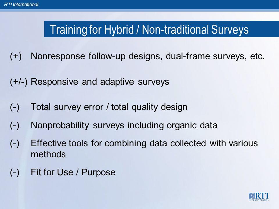 RTI International Training for Hybrid / Non-traditional Surveys (+)Nonresponse follow-up designs, dual-frame surveys, etc.