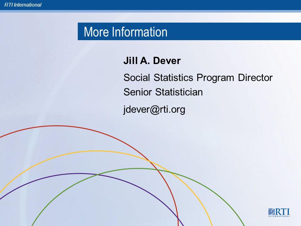 RTI International More Information Jill A.