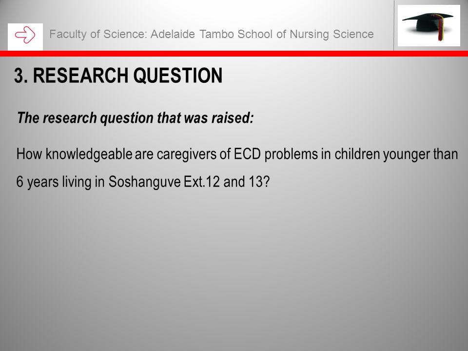 The research question that was raised: How knowledgeable are caregivers of ECD problems in children younger than 6 years living in Soshanguve Ext.12 a