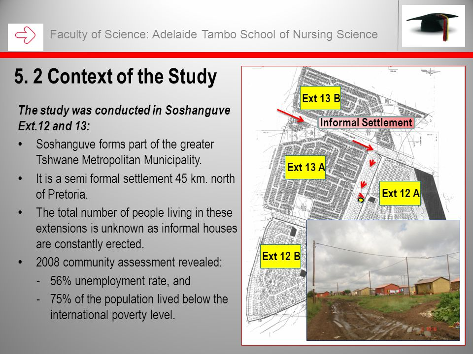 The study was conducted in Soshanguve Ext.12 and 13: Soshanguve forms part of the greater Tshwane Metropolitan Municipality.
