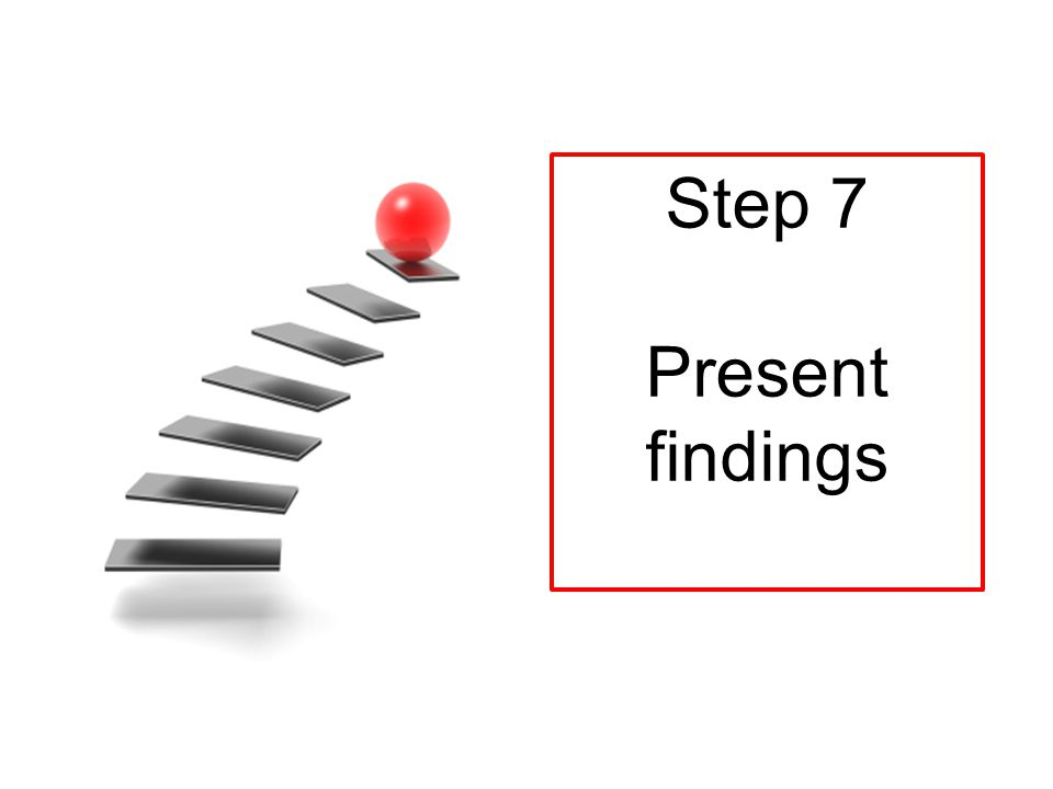 Step 7 Present findings