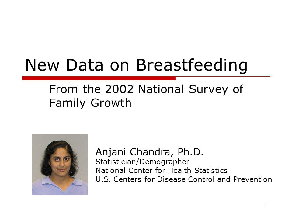1 New Data on Breastfeeding From the 2002 National Survey of Family Growth Anjani Chandra, Ph.D.
