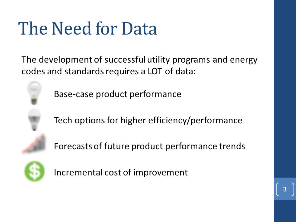 The Need for Data The development of successful utility programs and energy codes and standards requires a LOT of data: Base-case product performance Tech options for higher efficiency/performance Forecasts of future product performance trends Incremental cost of improvement 3