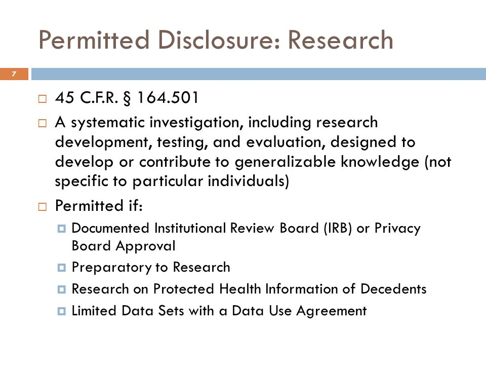 Permitted Disclosure: Research  45 C.F.R.