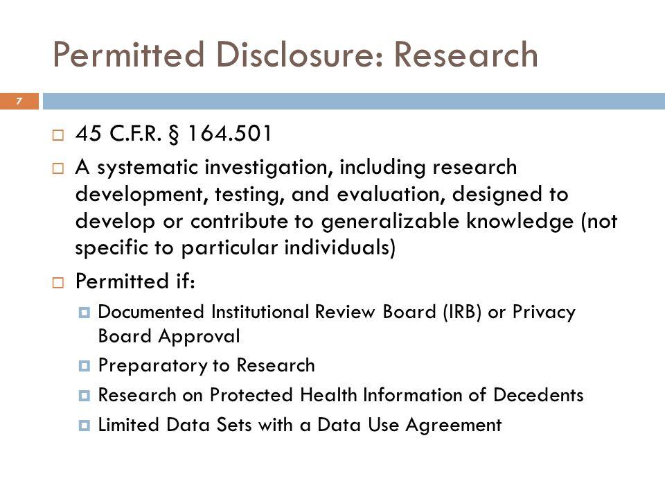 Permitted Disclosure: Public Health  45 C.F.R.