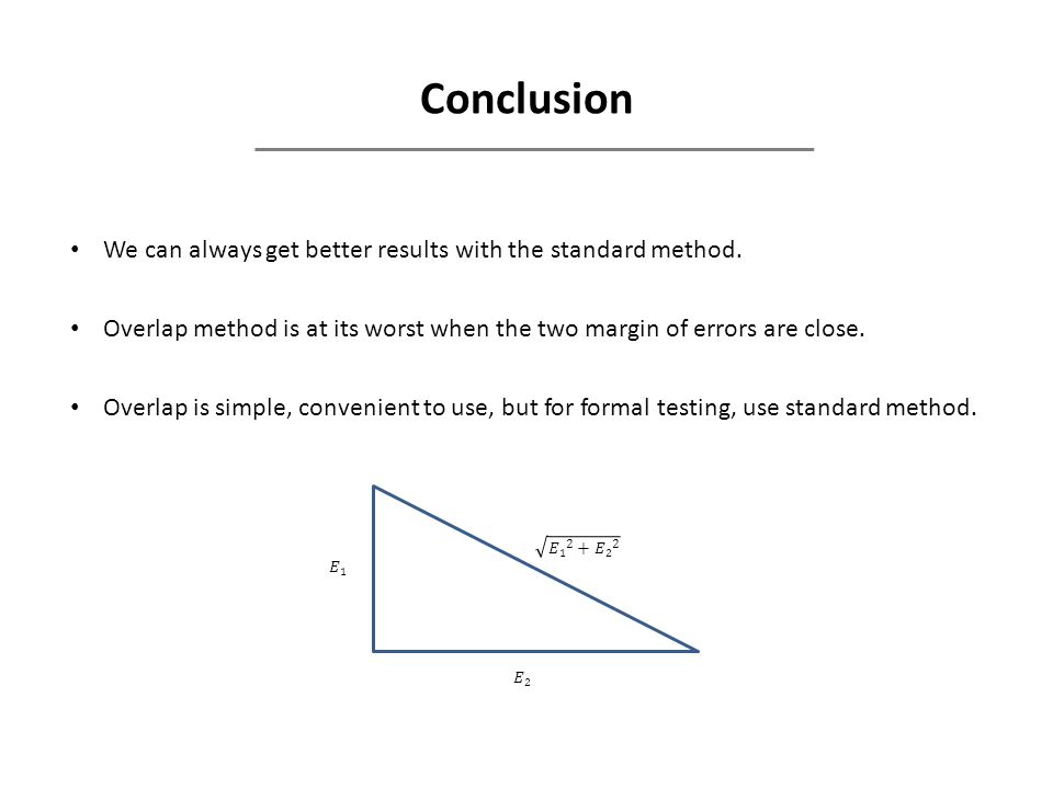 Conclusion We can always get better results with the standard method.