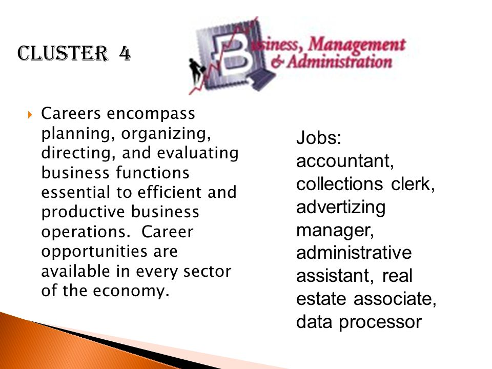  Careers encompass planning, organizing, directing, and evaluating business functions essential to efficient and productive business operations.