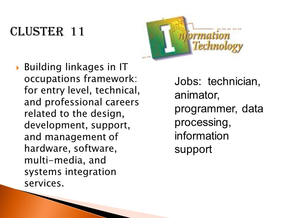  Building linkages in IT occupations framework: for entry level, technical, and professional careers related to the design, development, support, and management of hardware, software, multi-media, and systems integration services.