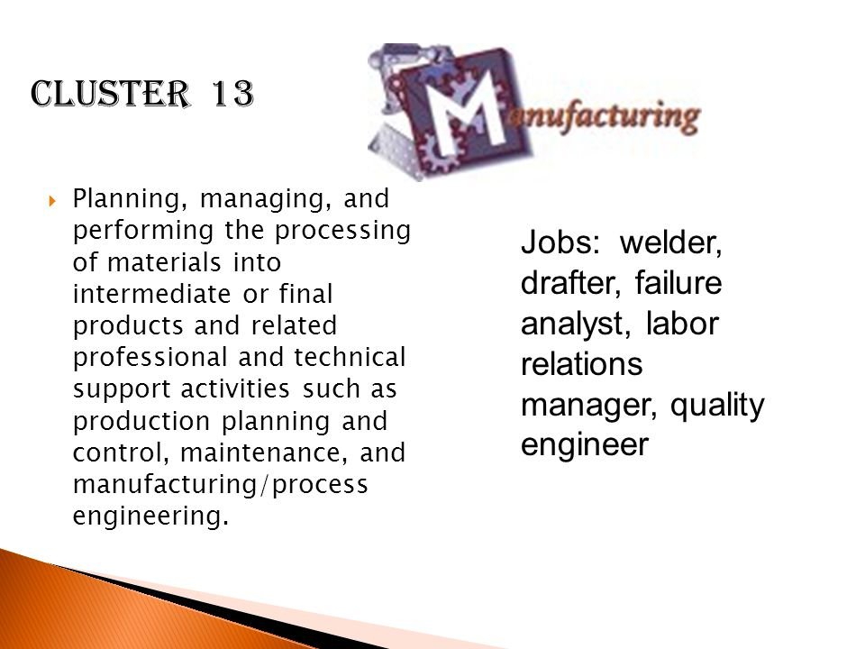  Planning, managing, and performing the processing of materials into intermediate or final products and related professional and technical support activities such as production planning and control, maintenance, and manufacturing/process engineering.