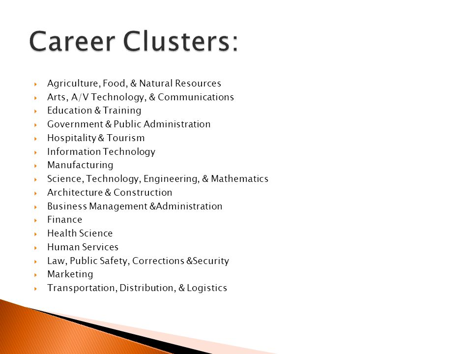  Agriculture, Food, & Natural Resources  Arts, A/V Technology, & Communications  Education & Training  Government & Public Administration  Hospitality & Tourism  Information Technology  Manufacturing  Science, Technology, Engineering, & Mathematics  Architecture & Construction  Business Management &Administration  Finance  Health Science  Human Services  Law, Public Safety, Corrections &Security  Marketing  Transportation, Distribution, & Logistics