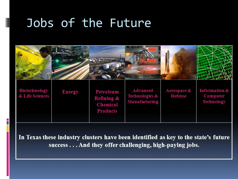 Jobs of the Future Biotechnology & Life Sciences EnergyPetroleum Refining & Chemical Products Advanced Technologies & Manufacturing Aerospace & Defense Information & Computer Technology In Texas these industry clusters have been identified as key to the state's future success...