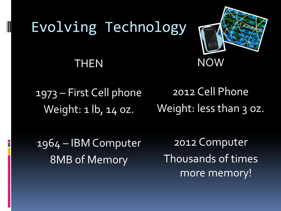 Evolving Technology THEN 1973 – First Cell phone Weight: 1 lb, 14 oz.