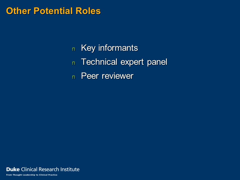 Other Potential Roles n Key informants n Technical expert panel n Peer reviewer
