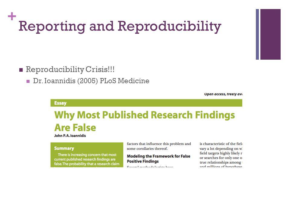 + Reporting and Reproducibility Reproducibility Crisis!!! Dr. Ioannidis (2005) PLoS Medicine