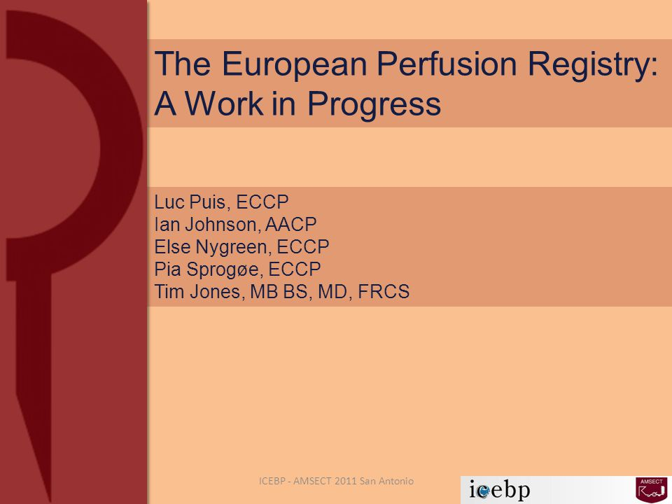 The European Perfusion Registry: A Work in Progress Luc Puis, ECCP Ian Johnson, AACP Else Nygreen, ECCP Pia Sprogøe, ECCP Tim Jones, MB BS, MD, FRCS ICEBP - AMSECT 2011 San Antonio