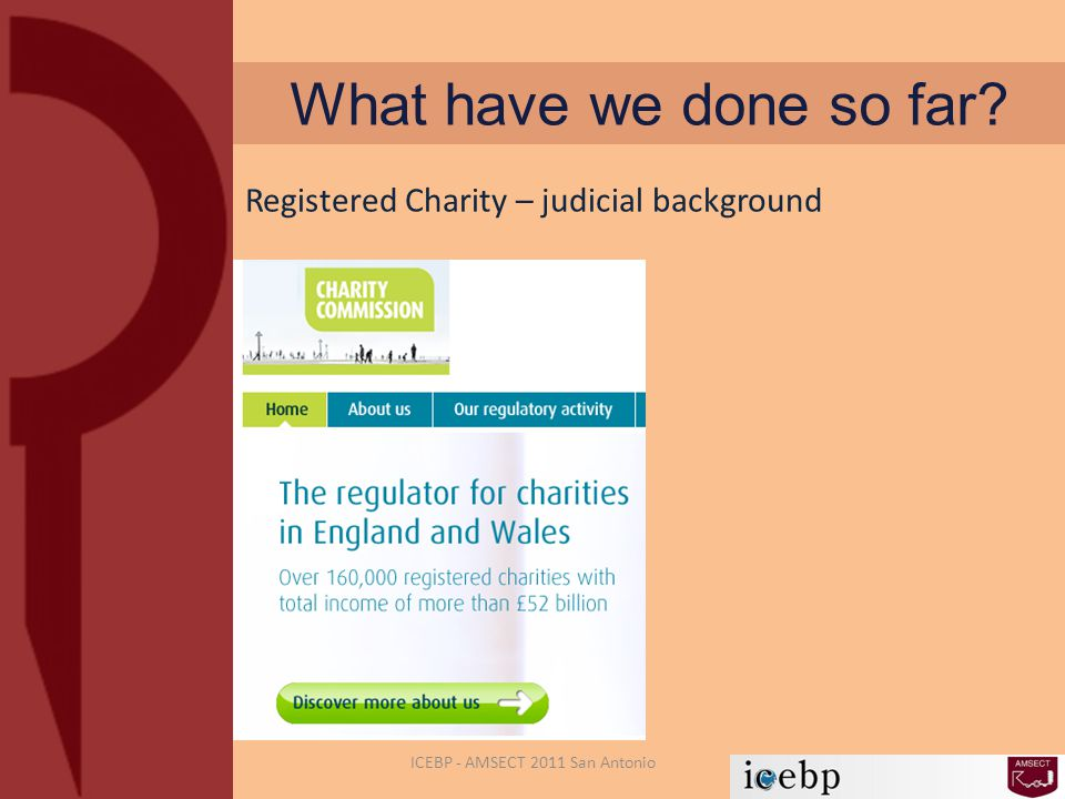 What have we done so far? ICEBP - AMSECT 2011 San Antonio Registered Charity – judicial background