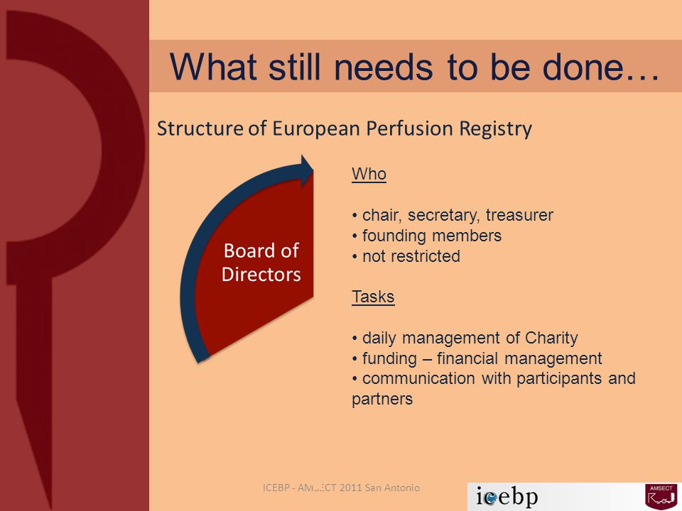 What still needs to be done… ICEBP - AMSECT 2011 San Antonio Structure of European Perfusion Registry Who chair, secretary, treasurer founding members not restricted Tasks daily management of Charity funding – financial management communication with participants and partners