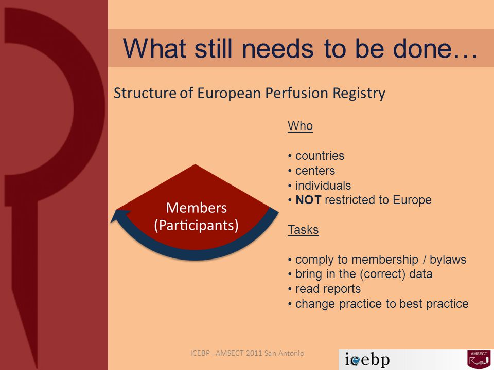 What still needs to be done… ICEBP - AMSECT 2011 San Antonio Who countries centers individuals NOT restricted to Europe Tasks comply to membership / bylaws bring in the (correct) data read reports change practice to best practice Structure of European Perfusion Registry